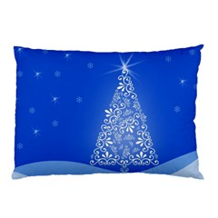 Blue White Christmas Tree Pillow Case (two Sides) by yoursparklingshop