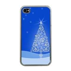 Blue White Christmas Tree Apple Iphone 4 Case (clear) by yoursparklingshop