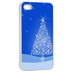 Blue White Christmas Tree Apple Iphone 4/4s Seamless Case (white) by yoursparklingshop
