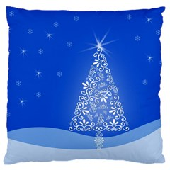 Blue White Christmas Tree Large Cushion Case (two Sides) by yoursparklingshop