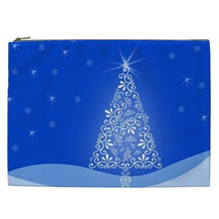 Blue White Christmas Tree Cosmetic Bag (xxl)  by yoursparklingshop
