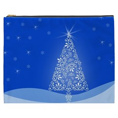 Blue White Christmas Tree Cosmetic Bag (xxxl)  by yoursparklingshop