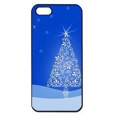 Blue White Christmas Tree Apple Iphone 5 Seamless Case (black) by yoursparklingshop