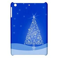 Blue White Christmas Tree Apple Ipad Mini Hardshell Case by yoursparklingshop