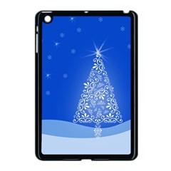 Blue White Christmas Tree Apple Ipad Mini Case (black) by yoursparklingshop