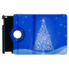 Blue White Christmas Tree Apple Ipad 2 Flip 360 Case by yoursparklingshop