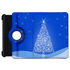 Blue White Christmas Tree Kindle Fire Hd Flip 360 Case by yoursparklingshop