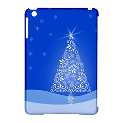 Blue White Christmas Tree Apple Ipad Mini Hardshell Case (compatible With Smart Cover) by yoursparklingshop