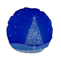 Blue White Christmas Tree Standard 15  Premium Round Cushions by yoursparklingshop