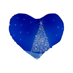 Blue White Christmas Tree Standard 16  Premium Heart Shape Cushions by yoursparklingshop