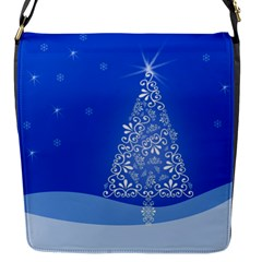 Blue White Christmas Tree Flap Messenger Bag (s) by yoursparklingshop