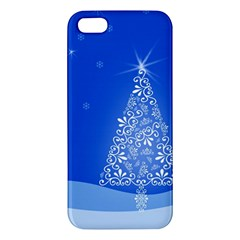 Blue White Christmas Tree Iphone 5s/ Se Premium Hardshell Case by yoursparklingshop
