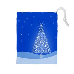 Blue White Christmas Tree Drawstring Pouches (large)  by yoursparklingshop