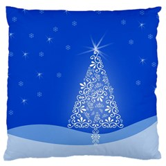 Blue White Christmas Tree Large Flano Cushion Case (one Side) by yoursparklingshop
