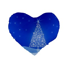 Blue White Christmas Tree Standard 16  Premium Flano Heart Shape Cushions by yoursparklingshop