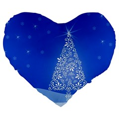 Blue White Christmas Tree Large 19  Premium Flano Heart Shape Cushions by yoursparklingshop