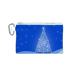 Blue White Christmas Tree Canvas Cosmetic Bag (s) by yoursparklingshop