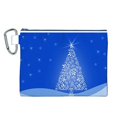 Blue White Christmas Tree Canvas Cosmetic Bag (l) by yoursparklingshop