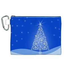 Blue White Christmas Tree Canvas Cosmetic Bag (xl)  by yoursparklingshop