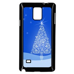 Blue White Christmas Tree Samsung Galaxy Note 4 Case (black) by yoursparklingshop