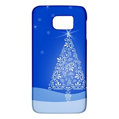 Blue White Christmas Tree Galaxy S6 by yoursparklingshop