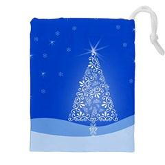 Blue White Christmas Tree Drawstring Pouches (xxl) by yoursparklingshop