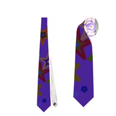 Purple Christmas Party Stars Neckties (One Side)  by yoursparklingshop