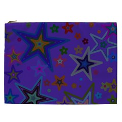 Purple Christmas Party Stars Cosmetic Bag (xxl)  by yoursparklingshop