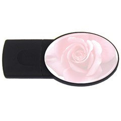 Pink White Love Rose Usb Flash Drive Oval (2 Gb)  by yoursparklingshop