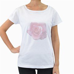 Pink White Love Rose Women s Loose-Fit T-Shirt (White) by yoursparklingshop