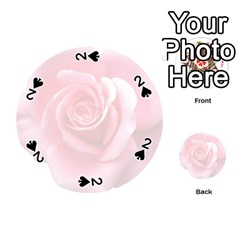 Pink White Love Rose Playing Cards 54 (round)  by yoursparklingshop