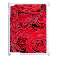 Red Love Roses Apple Ipad 2 Case (white) by yoursparklingshop