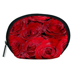 Red Love Roses Accessory Pouches (medium)  by yoursparklingshop