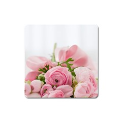 Romantic Pink Flowers Square Magnet by yoursparklingshop