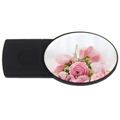 Romantic Pink Flowers Usb Flash Drive Oval (2 Gb)  by yoursparklingshop