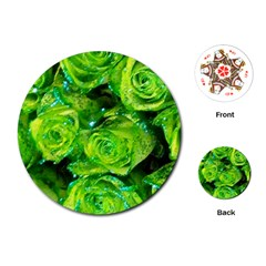 Festive Green Glitter Roses Valentine Love  Playing Cards (round)  by yoursparklingshop
