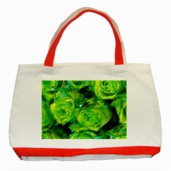 Festive Green Glitter Roses Valentine Love  Classic Tote Bag (red) by yoursparklingshop
