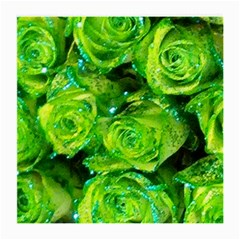 Festive Green Glitter Roses Valentine Love  Medium Glasses Cloth (2 Side) by yoursparklingshop
