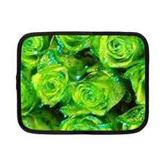 Festive Green Glitter Roses Valentine Love  Netbook Case (small)  by yoursparklingshop