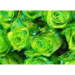 Festive Green Glitter Roses Valentine Love  Birthday Cake 3d Greeting Card (7x5)  by yoursparklingshop