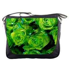 Festive Green Glitter Roses Valentine Love  Messenger Bags by yoursparklingshop