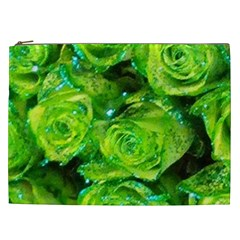 Festive Green Glitter Roses Valentine Love  Cosmetic Bag (xxl)  by yoursparklingshop