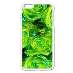Festive Green Glitter Roses Valentine Love  Apple Iphone 6 Plus/6s Plus Enamel White Case by yoursparklingshop