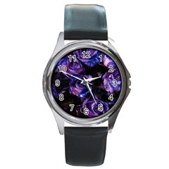 Purple Glitter Roses Valentine Love Round Metal Watch by yoursparklingshop