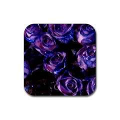 Purple Glitter Roses Valentine Love Rubber Square Coaster (4 Pack)  by yoursparklingshop