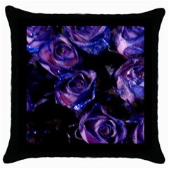 Purple Glitter Roses Valentine Love Throw Pillow Case (black) by yoursparklingshop