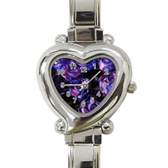 Purple Glitter Roses Valentine Love Heart Italian Charm Watch by yoursparklingshop