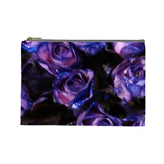 Purple Glitter Roses Valentine Love Cosmetic Bag (large)  by yoursparklingshop