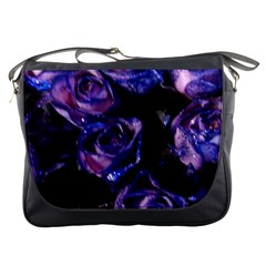 Purple Glitter Roses Valentine Love Messenger Bags by yoursparklingshop
