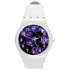 Purple Glitter Roses Valentine Love Round Plastic Sport Watch (m) by yoursparklingshop